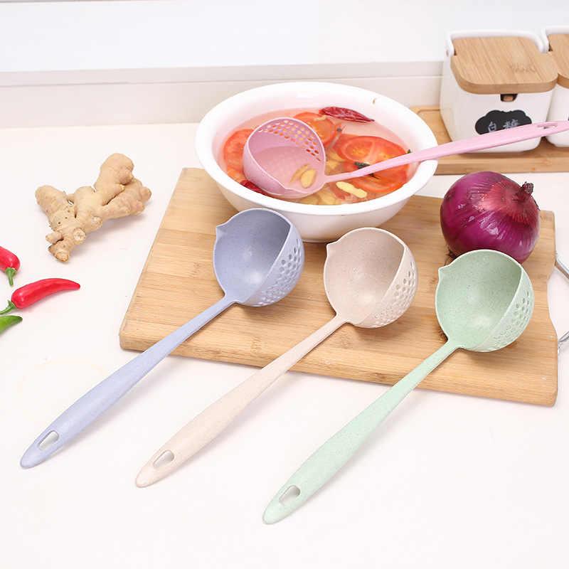 4 warna 1Pcs Anti Slip Desain Jamuan Makan Malam Sendok Peralatan Makan PP Panjang Tangkai Sendok Dapur Perlengkapan Beras Sendok Sendok Sup