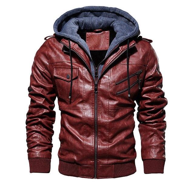 FGKKS hommes moto en cuir vestes hiver mâle mode décontracté à capuche Faux veste hommes chaud vestes en cuir synthétique polyuréthane manteaux 4