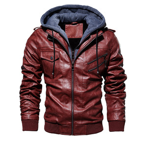 Image 5 - FGKKS Men Motorcycle Leather Jackets Winter Male Fashion Casual Hooded Faux Jacket Mens Warm PU Leather Jackets Coats