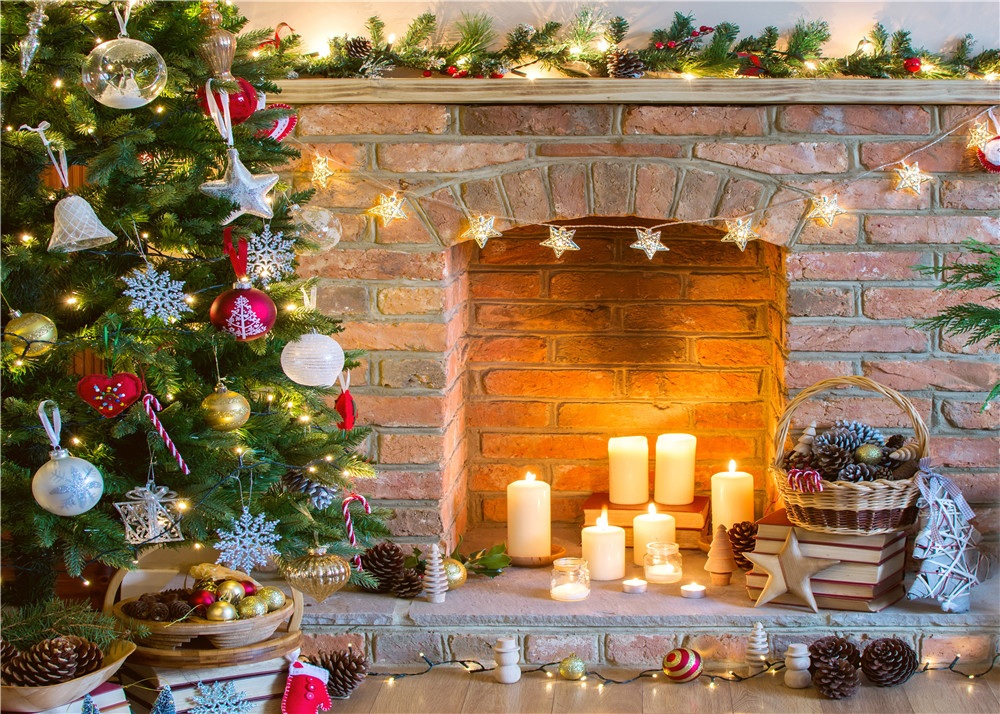 Merry Christmas Xmas Tree Fireplace Candles Star String Lights