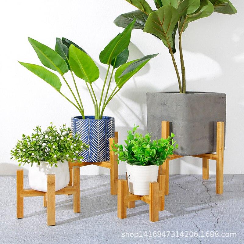 Wooden Flower Pot Holder Plant Stand Bonsai Succulents Tray Indoor Balcony Garden Floor Flowerpot Shelves Decor Wholesale Hot