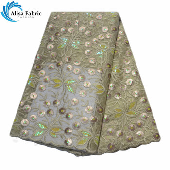 2019 French Tulle Lace Fabrics  5 Yards/pcs Latest Sequins Lace Fabrics With Embroidery Nigeria Lace For Nigerian Wedding Party