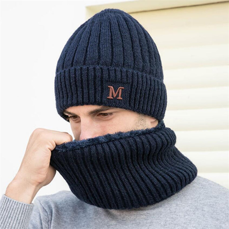 Men Winter Hat And Scarf Set For Women Male Ring Scarves Cap Man Knitted Plush Beanies Warm Hat 2 Pcs Set 2019 Adult Accessories