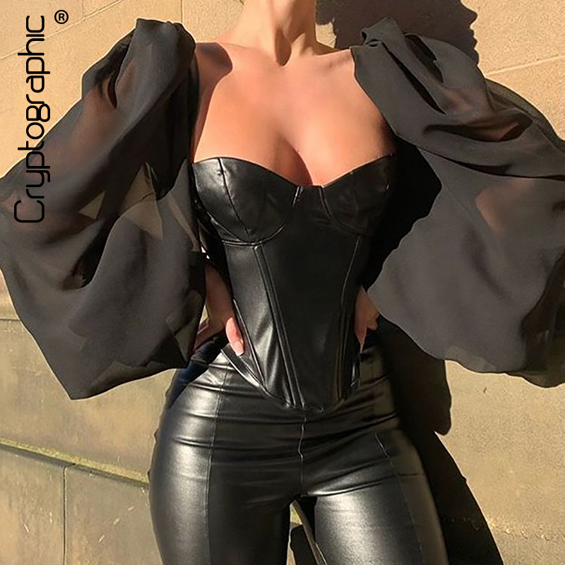 Cryptographic Square Collar PU Leather Sexy Backless Puff Sleeve Blouses Women Off Shoulder Tops Female Shirts Blusa Sheer Mesh