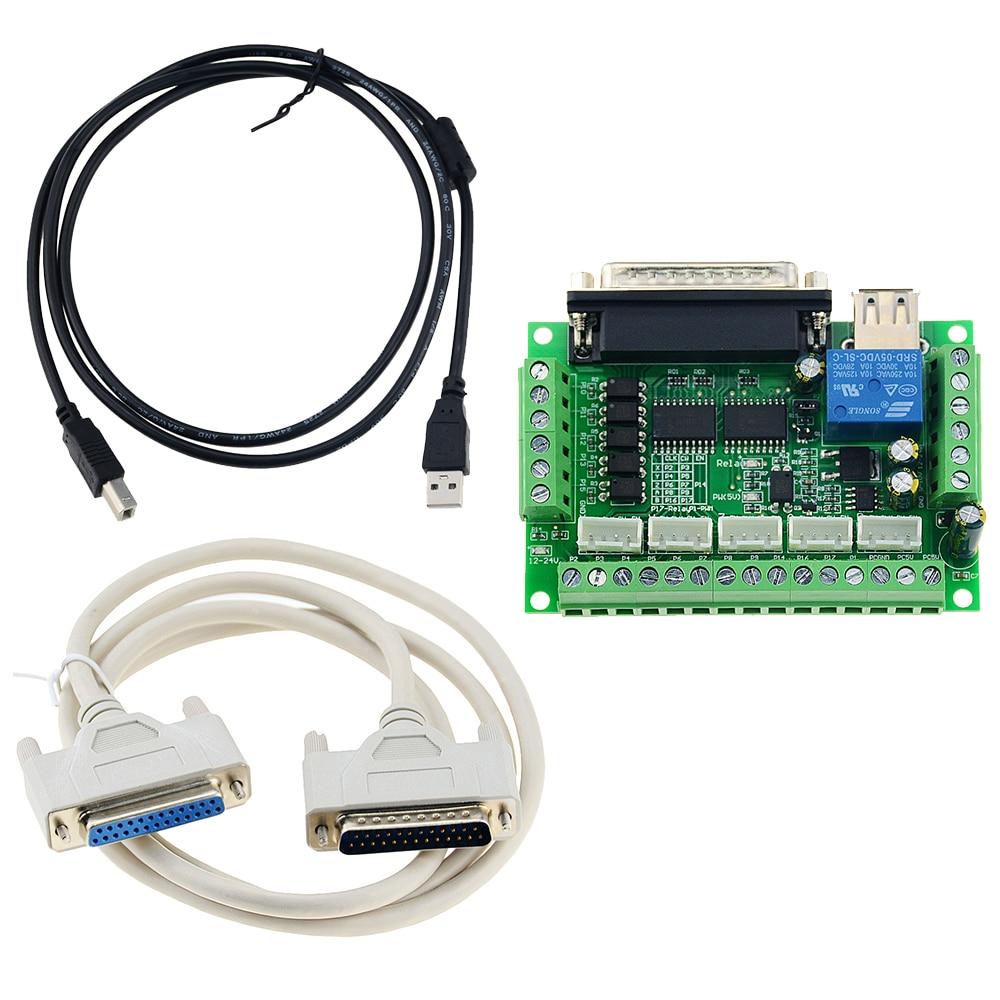 Модернизированный 5 Axis CNC Интерфейс адаптер коммутационная плата для Драйвер шагового двигателя Mach3 + USB кабель горячая Распродажа и LPT кабел...