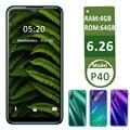 Глобальная версия P40, четыре ядра, android, распознавание лица, разблокированный мобильный телефон, 13-мегапиксельная задняя камера, 6,26
