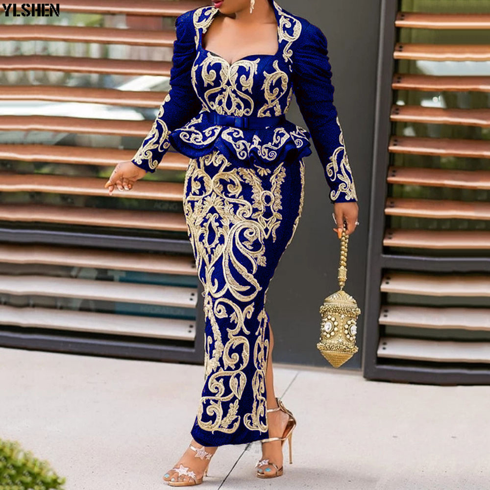 4 Colors Africa Dress African Dresses For Women New Style Red Black Print Long Sleeves Bodycon Daily Dress Evening Party Dress