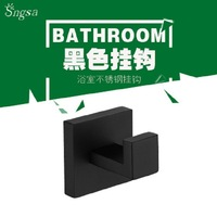 304 Stainless Steel Black And White with Pattern Single Hook Clothes Hook Wall Hangers Punched Square Paragraph Thick Coat Hook