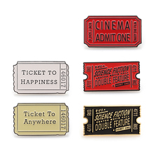 Red Black Movie Ticket brooch New movie ticket Icon Badge Denim Shirt Collar backpack badge jewelry gift