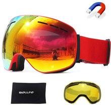 Ski-Goggles Eyewear Lens Anti-Fog Skiing Magnetic Women with Double-Layers UV400 Snowboard