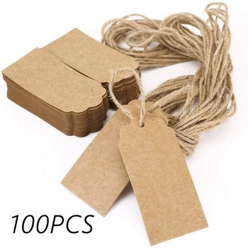 Kraft Gift Tags Scalloped Edge Wedding Party Paper Card Tag Festival Note DIY Blank Price Label Hang Tag 100pcs/lot with 2M Rope image