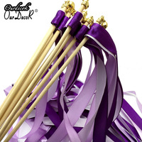 20Pieces Wedding 3 Ribbons Confetti Twirling Stream Ribbon Sticks Wands with Bell Garland Party Favor Supplies 6 Colors