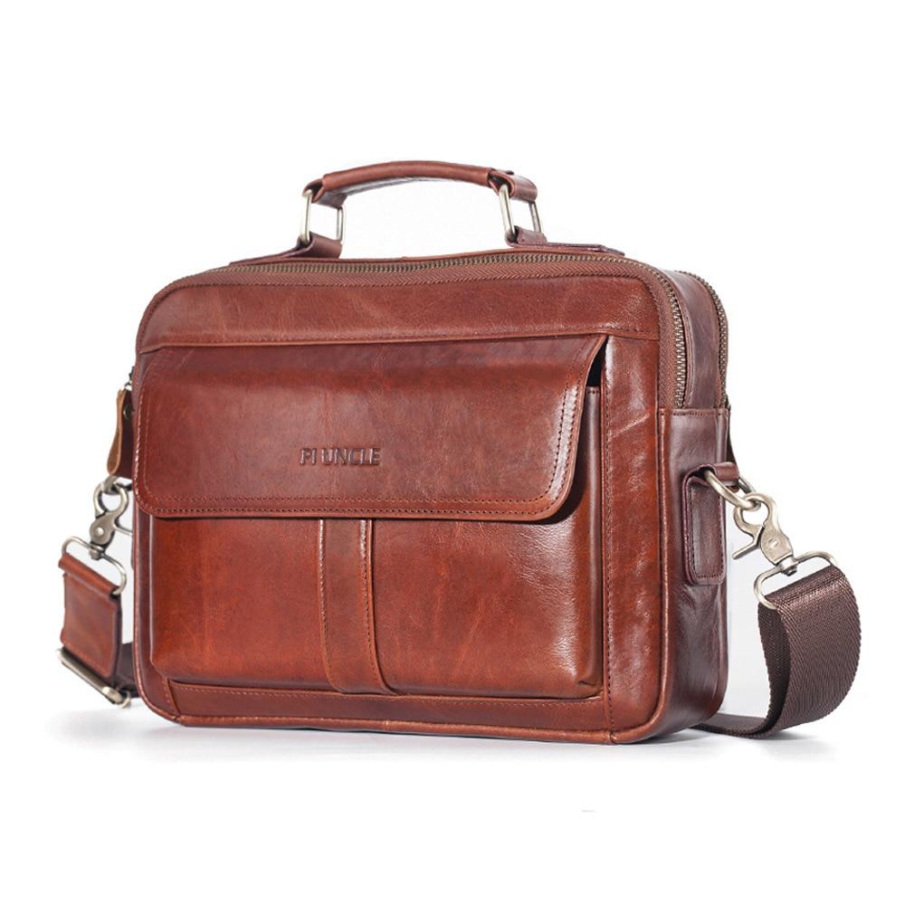 Men Leather Briefcases Top-handle Ipad Handbag Tote Men Crossbody Shoulder Bag Men's Cowhide Messenger Bags For Men