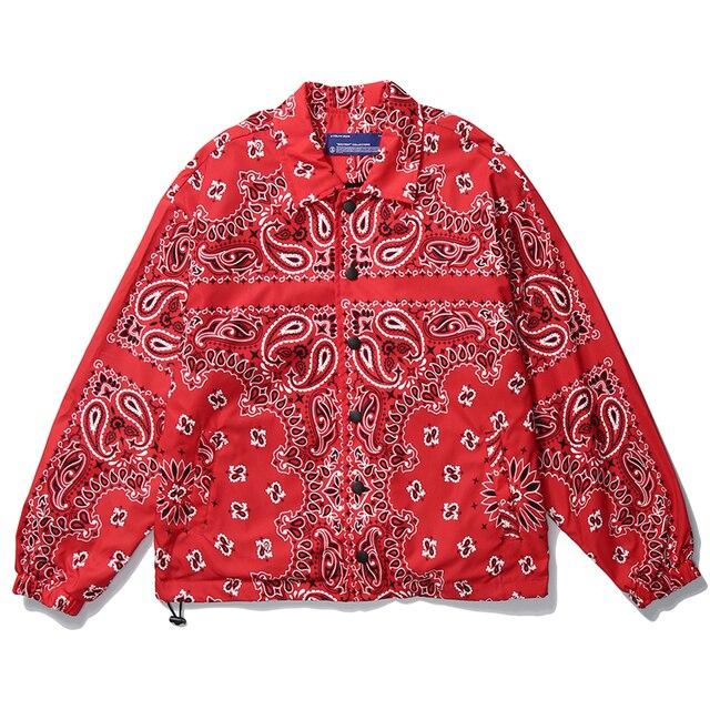 Mens Wear Hip Hop Bandana Paisley Pattern Bomber Jackets Windbreaker Harajuku Streetwear 2020 Autumn Casual Coats Tops Clothing 3