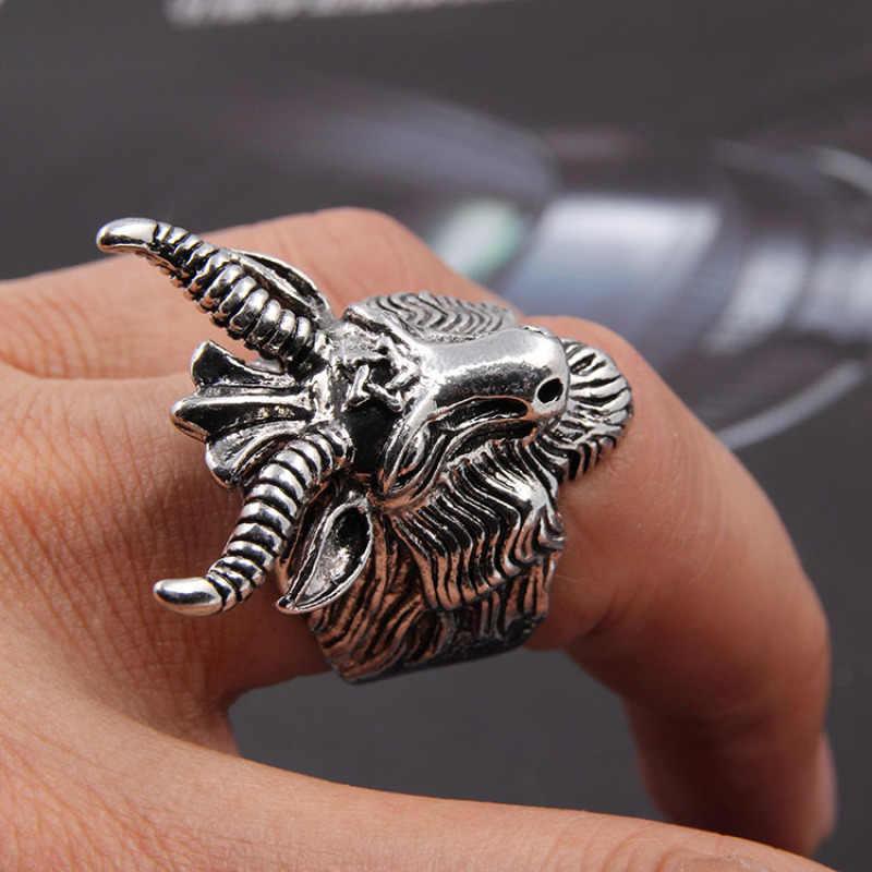 פאנק טבעת גדול כבשים עיזים הורן ראש טבעת שטן פולחן אפומט טלה מזלות ויקה כוכב לגברים ייחודי Biker פאנק תכשיטים