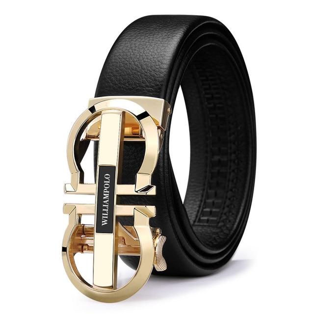 WILLIAMPOLO Luxury Brand Designer Leather Mens Genuine Leather Strap Automatic Buckle Waist Belt Gold Belt PL18335 36P