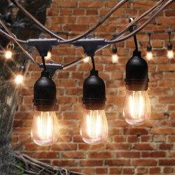 Thrisdar 15 м 15 лампочек S14, коммерческий светодиодный светильник-Гирлянда для сада, праздника, свадьбы, вечеринки, светильник