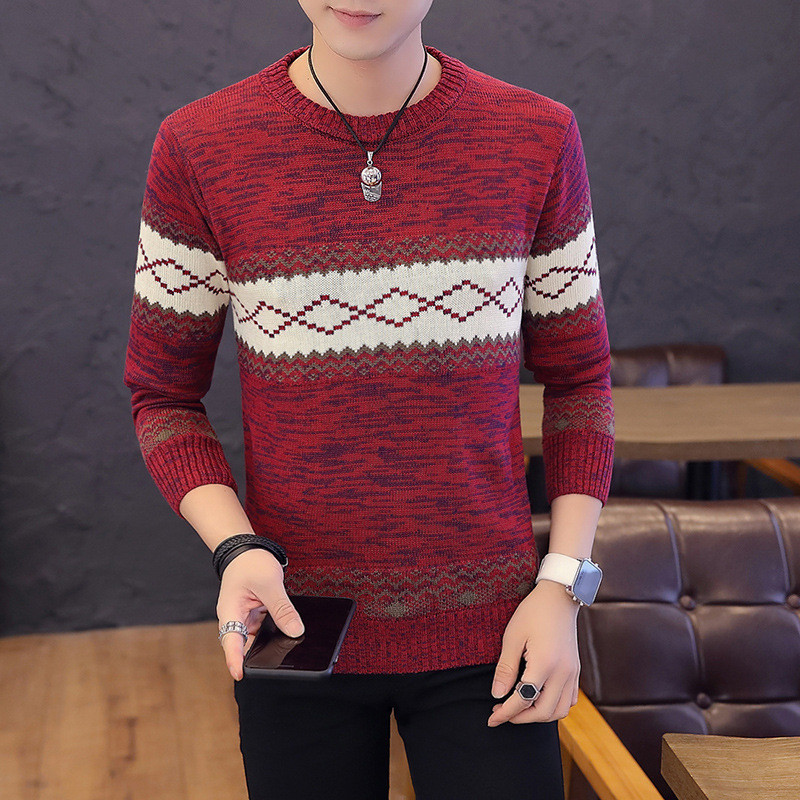 Men Sweater Red Blue Black Beige Navy Pullover O-Neck Long Sleeve Winter Leisure Mens Sweaters Thin Wool Casual