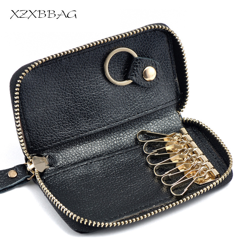 XZXBBAG Leather Multi-fonction Key Organizer Bag Fashion Unisex Keychain Key Holder Case Zipper Key Card Pouch Cover Wallet