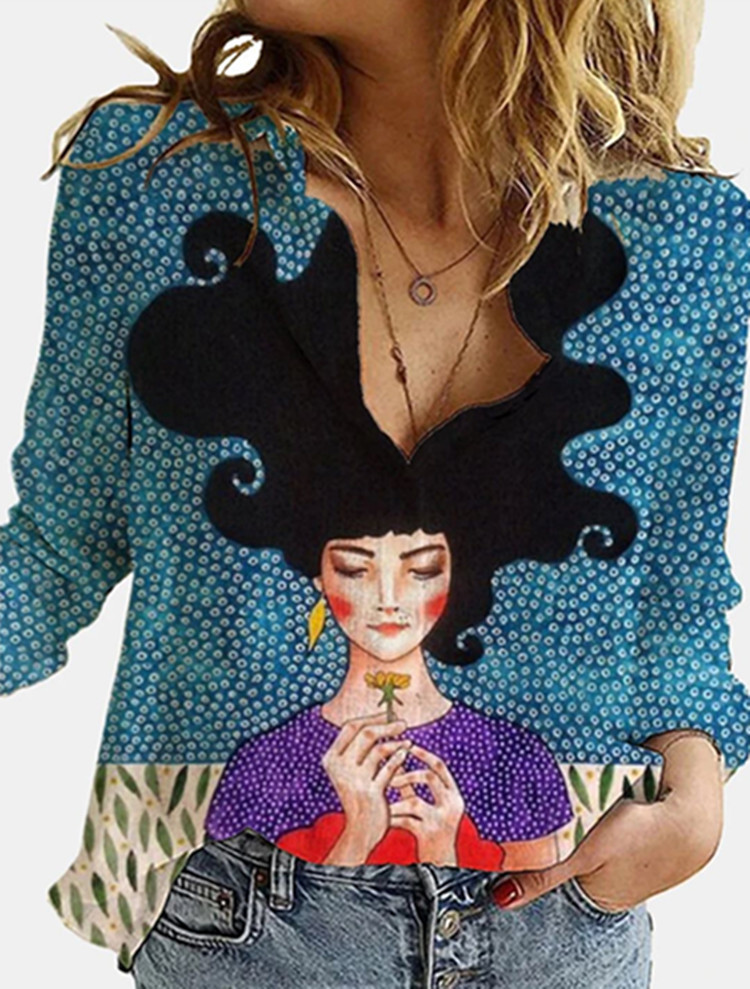 3D Digital Portrait Letter Printing Casual Women's Blouse 2021 Spring Autumn New Loose Button Cardigan Long Sleeve Ladies Shirt