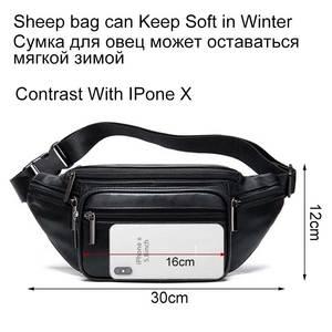 Image 3 - MVA Mens Waist Bag Belt Waist Packs Sheep genuine Leather Waist Bag For men/women Fanny Pack Belt Bum/Hip mens belt bags  8879