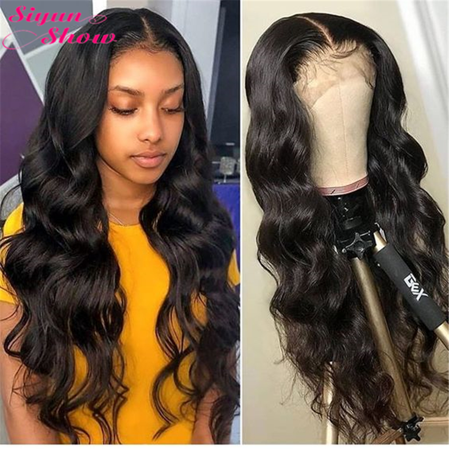 Siyun Show 4×4 Closure Wig 28 Inch Brazilian Body Wave Closure Wig Remy Lace Front Human Hair Wigs For Women With Baby Hair