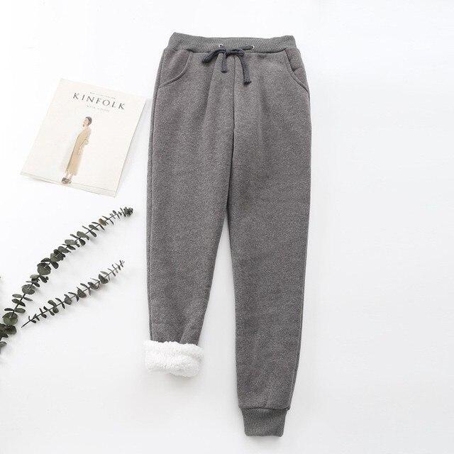 BEFORW 2019 Winter Women Pant Thick Lambskin Cashmere Pants Warm Female Casual Pants Loose Harlan Pants Long Trousers Plus Size 5
