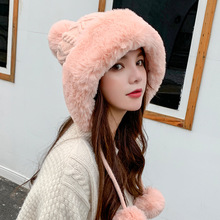 Fashion Autumn Winter Mink Knit Bomber Hat Thick Female Fluffy Pompom Outdoor Warm Windproof Cap Earflap Trapper Snow Ski Caps