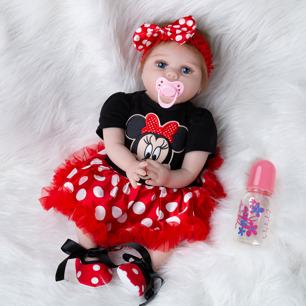 Newest Girl Toys 55cm Soft Silicone Reborn Dolls Surprises Gifts Baby Realistic Doll Reborn Vinyl Boneca Reborn Doll For Girls(China)