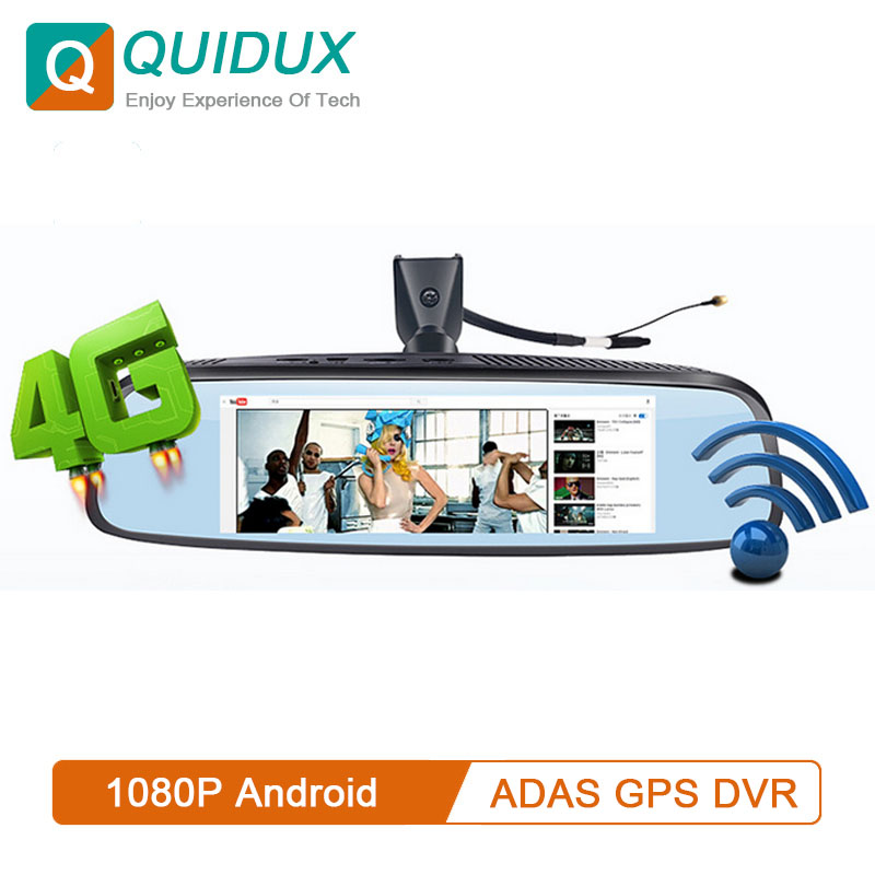 QUIDUX 4G DVR Video-Camera Car-Rearview-Mirror Android-Dashcam Bluetooth ADAS WIFI Recorder