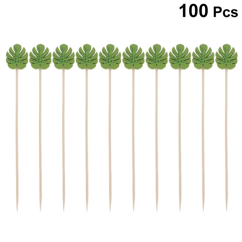100pcs Wood Cocktail Picks Disposable Fruit Sticks Toothpicks Party Bar Supplies