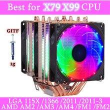 Heatpipes 6 4PIN RGB PWM Silencioso Cooler Radiator 130W TDP Para Intel 1150 1155 1156 1366 2011 X79 X99 AM2 AM3 AM4 Ventilador