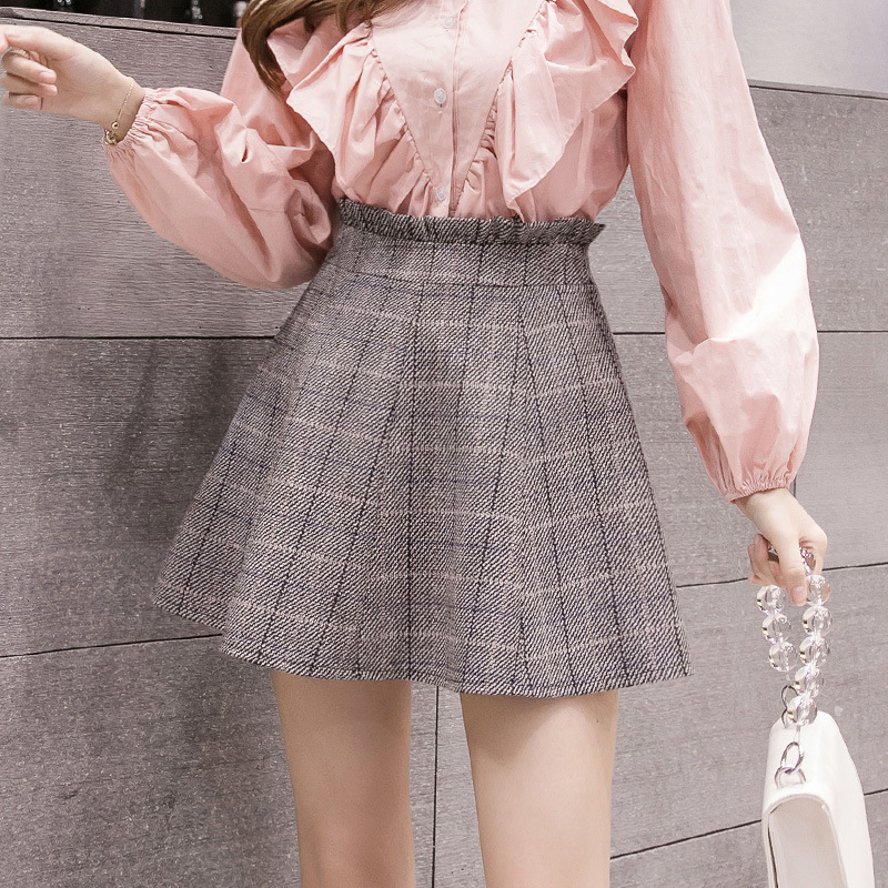 S-2xl New Winter Woollen Plaid Tutu Skirt For Female 2019 Autumn High Waist Skirt Women Falda Mujer Mini Womens Plus Size Fashions Skirts