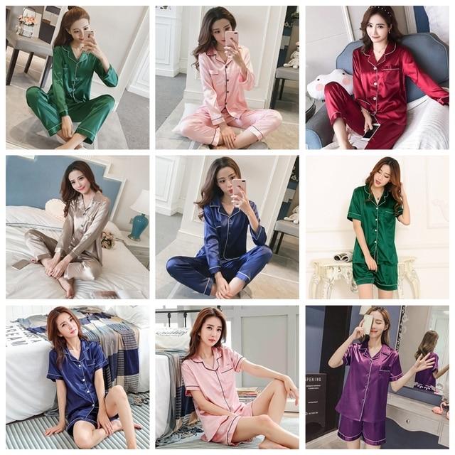 Ladies Silk Satin Pajamas 2 Piece Suit  5