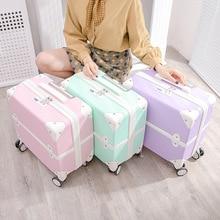 Fashion Retro Trolley Koffer Op Wielen Meisjes Universal Wheel Rolling Bagage Vrouwen 18 Inch Boarding Leuke Reizen Bagage Tas
