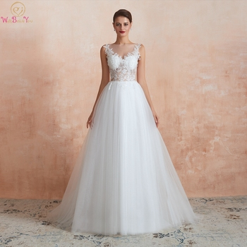 цена на Wedding Dresses vestido de noiva 2020 suknia slubna White Ivory Lace Appliques Sequined A Line Sleeveless Long Transparent Bride