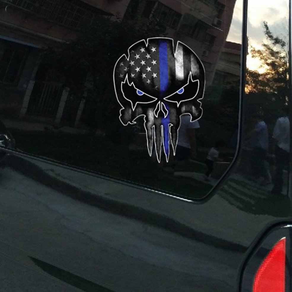 Tengkorak Stiker untuk Mobil Vinyl Polisi Window Motor Laptop Truk Tentara Militer Angkatan Laut untuk Jeep Stiker Bumper Stiker Reflektif
