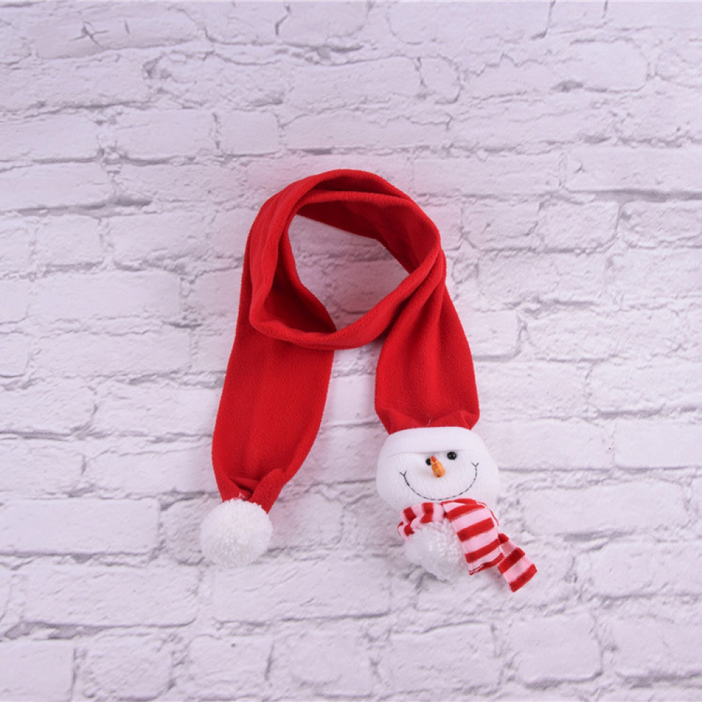 Christmas Scarf Santa Snowman Patch Neck Wrap Scarves Winter Warm Collar Creative Christmas Red Hair Scarf Gift Kids