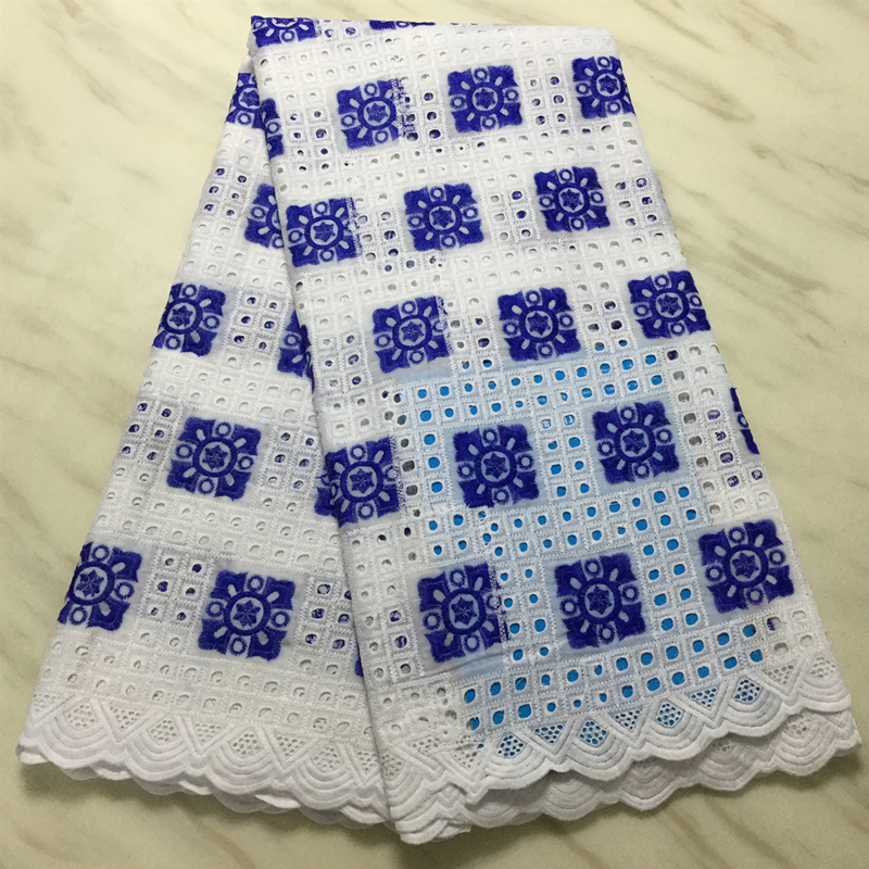 Best Selling Royal Blue Wax Lace Fabric 2020 High Quality White Nigerian African Laces Fabric Holes Design For Dress Sewing