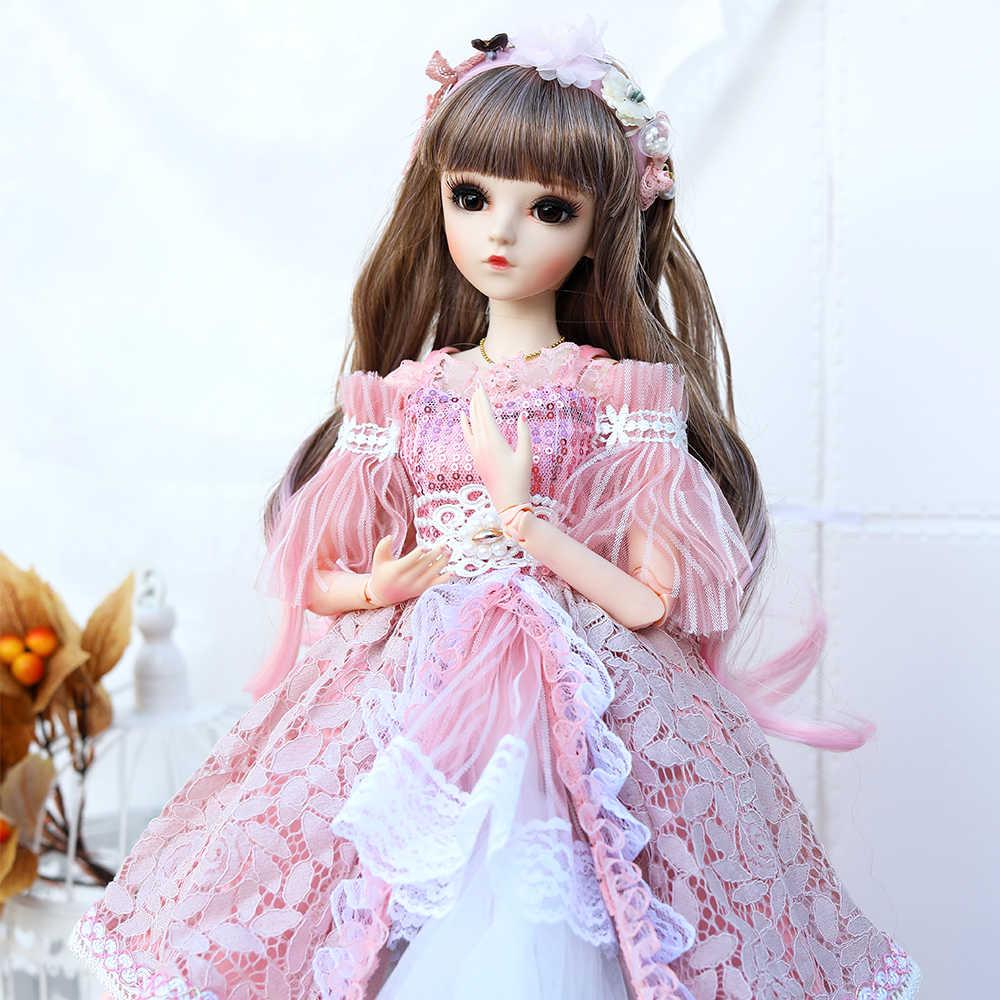 1/3 BJD Boneka 60 Cm 18 Bola Bersendi Boneka dengan Gaya Istana Pakaian Maxi Dress Wig Sepatu Makeup Hadiah Terbaik untuk Anak Perempuan Koleksi