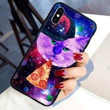 Pizza katze Weichen Silikon telefon abdeckung fall für iphone 5 5S SE 6 6S 7 8 plus X XR XS 11 Pro Max