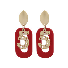 Give Me Five Acrylic Earrings Geometric No.5 Stud Korean Style Number Zero Charm Women Party Jewelry