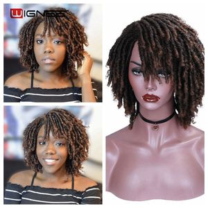 Image 1 - Wignee court doux brun dreadlock perruques synthétiques pour les femmes Faux locs Afro crépus bouclés cheveux avec frange Crochet torsion cheveux perruques