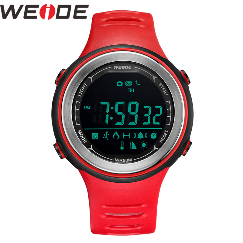 WEIDE Watch Bluetooth Sports Digital Silicone Strap Clock 5ATM Waterproof for IOS Iphone Men Android Relogio Masculino Men Watch