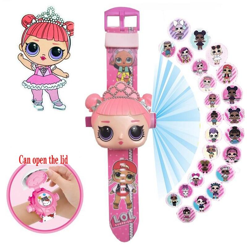 LOL poupées surprise 3D Projection dessin animé enfants montres Figure danime petits enfants garçons filles horloge jouets pour enfants