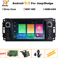 6.2 Android 9.0 Octa Core 4G+64G Car Radio DVD Player GPS Navigation for JEEP Patriot Liberty Wrangler Compass DODGE Chrysler