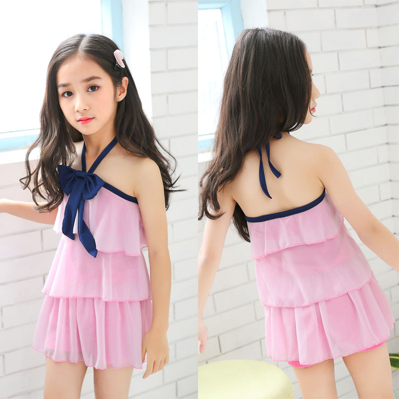 KID'S Swimwear Girls One-piece Cute GIRL'S Students 5-10-Year-Old Solid Color Layered Boxers Conservative Baby GIRL'S Swimwear