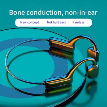 True Bone Conduction Earphone Waterproof Wireless Bluetooth Headphone with Microphone Sports Not-In