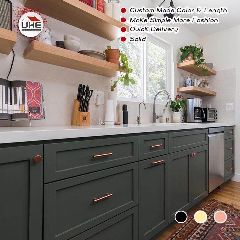 Uke Modern Furniture Handles Cabinet Drawer Wardrobe Handles Kitchen Cupboard Door Handles Rose Gold Brushed Brass Black Solid Cabinet Pulls Aliexpress