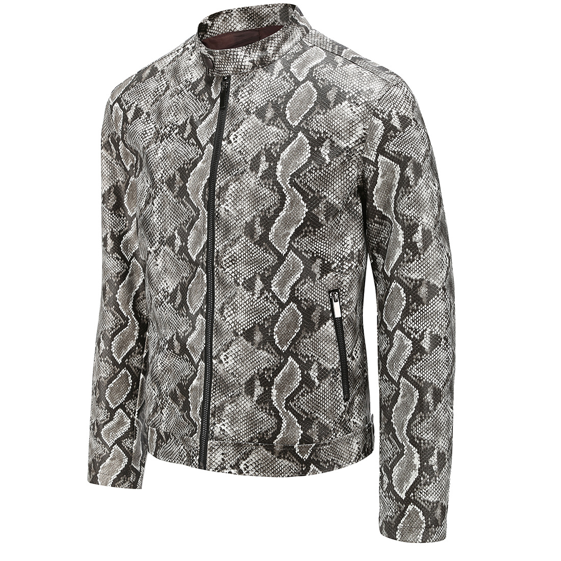 2019 Autumn New Style Foreign Trade Ouma Washing PU Leather Snakeskin Print MEN'S Leather Jacket Coat PY002